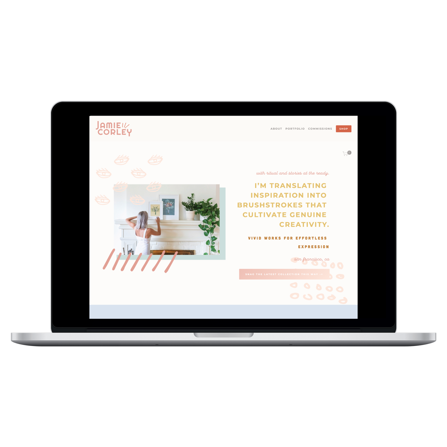 Laptop with screenshot of Squarespace site for Jamie Corley by Desk and Design. Branding, Squarespace design, and copywriting for artists.png
