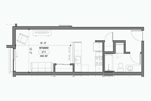 Studio   One Bath   460 SF