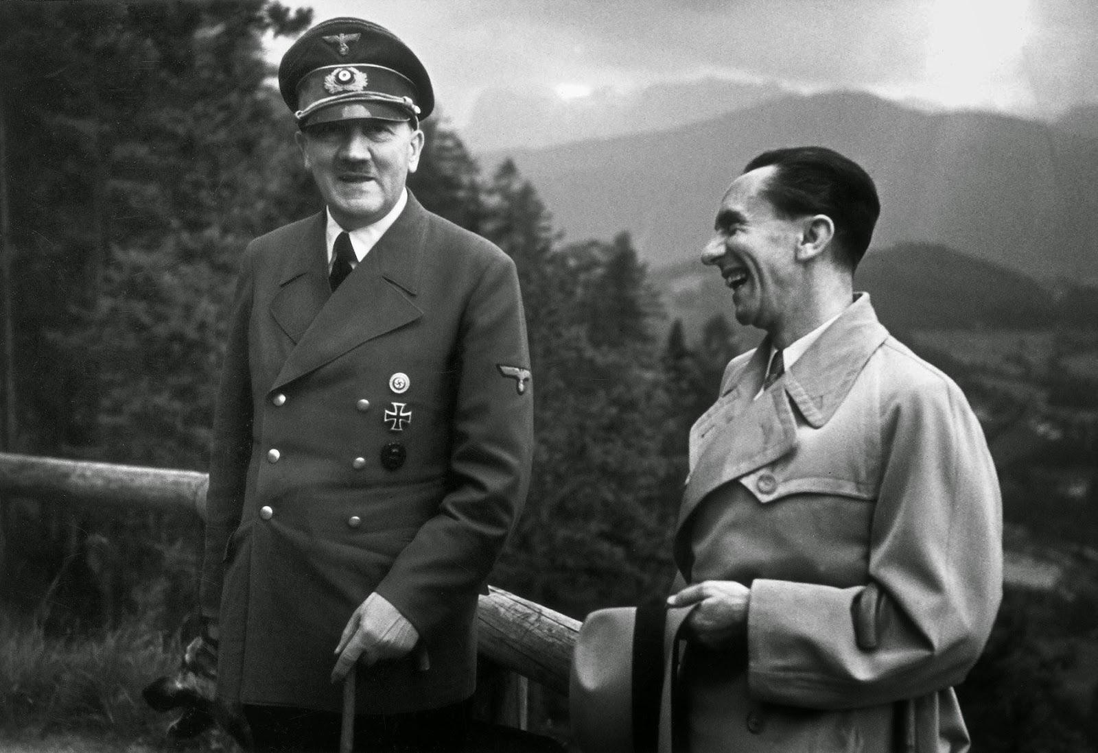Goebbels with Hitler at the Nazi leader's private home (1943)
