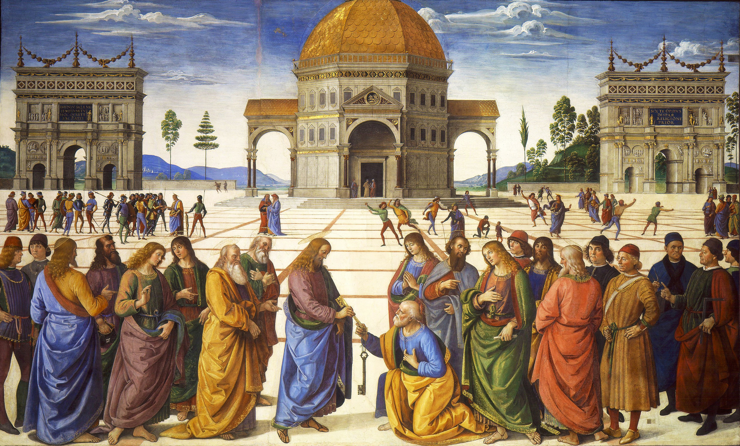 """Pietro Perugino, """"The Delivery of the Keys to Saint Peter"""" (c. 1481-82)"""