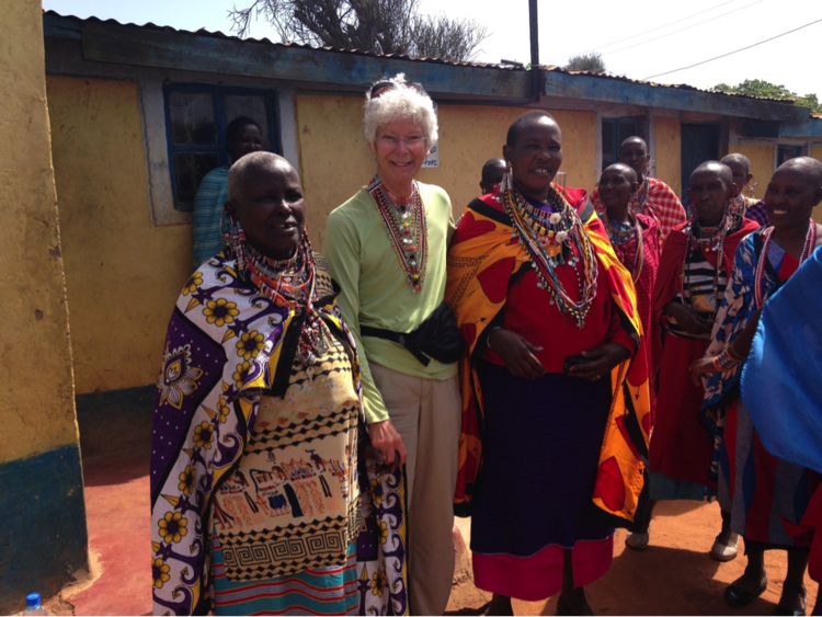 3CF co-founder, Pam Straley with women participating in the MGEF program