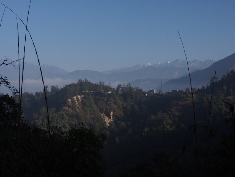 View of the high Himalaya as we began ascending the dirt road