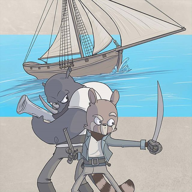 Yikes, it's been a while since I posted anything. Been working on a few different things so unfortunately Change Log is on a break for a bit. This is an image from my new comic called Near the Wind. I'll be posting more process work as I go. #comics #cartooning #pirates #anthropomorphic #makecomics