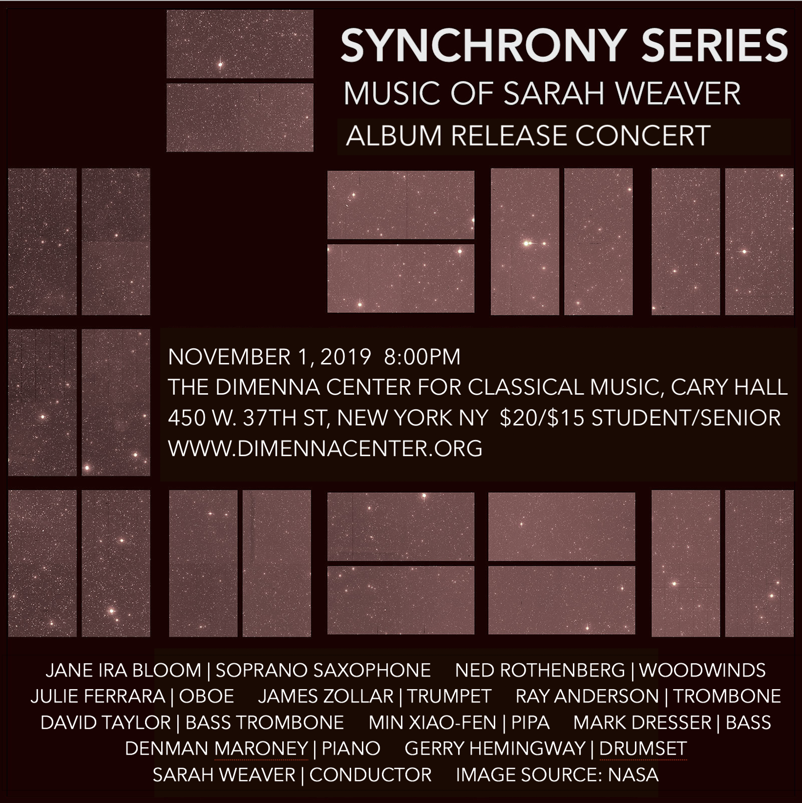 SYNCHRONY SERIES: Album Release Concert - November 1, 2019 8:00PMThe DiMenna Center for Classical Music, Cary Hall450 W. 37th Street, New York NY