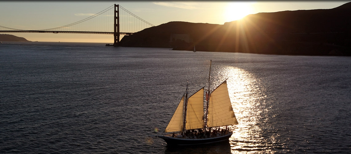Schooner Freda B near the Golden Gate Bridge.