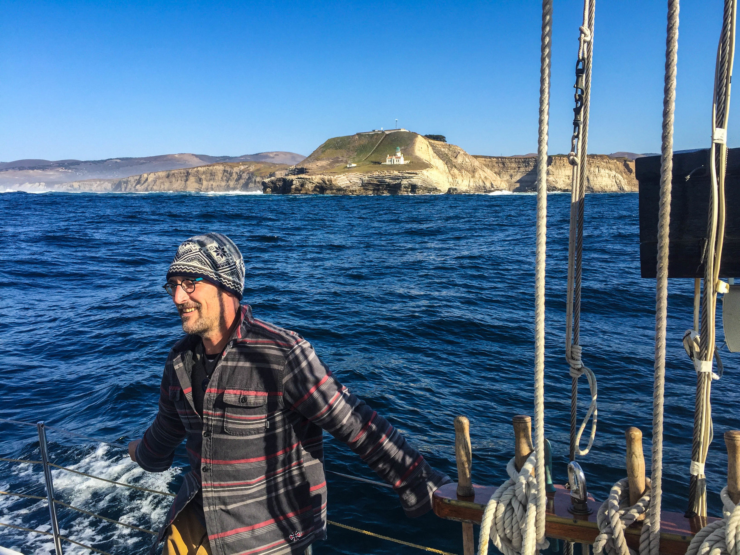 David Robert Johnson (aka Chef DR Jones) aboard the Freda B, Farallones Islands