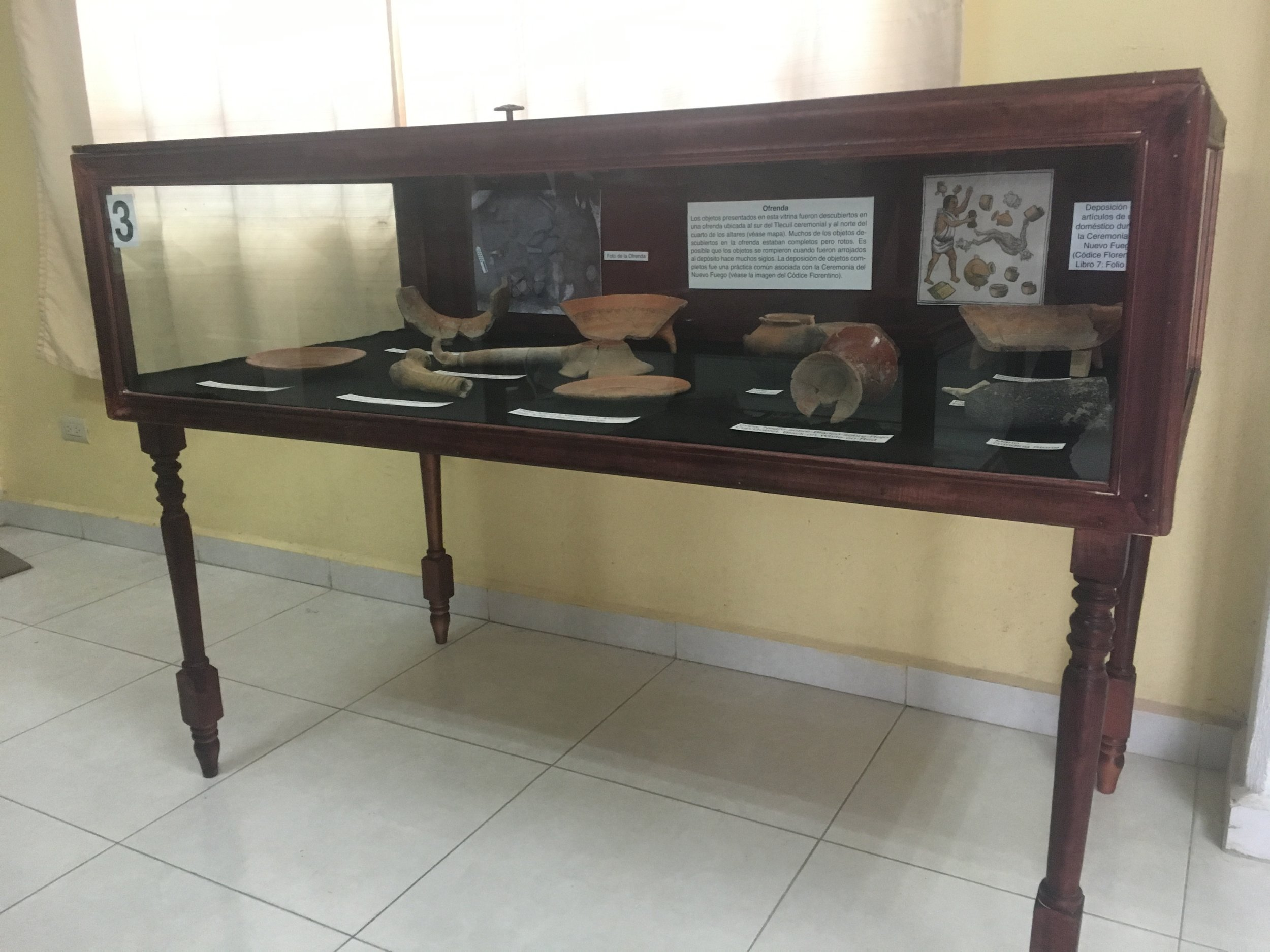 This vitrine contains the objects recovered in a large ritual deposit that may have been associated with a New Fire Ceremony.