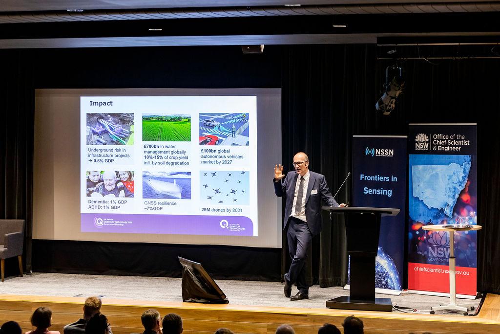 Professor Kai Bongs, a keynote presentation on economic opportunities for quantum sensing.