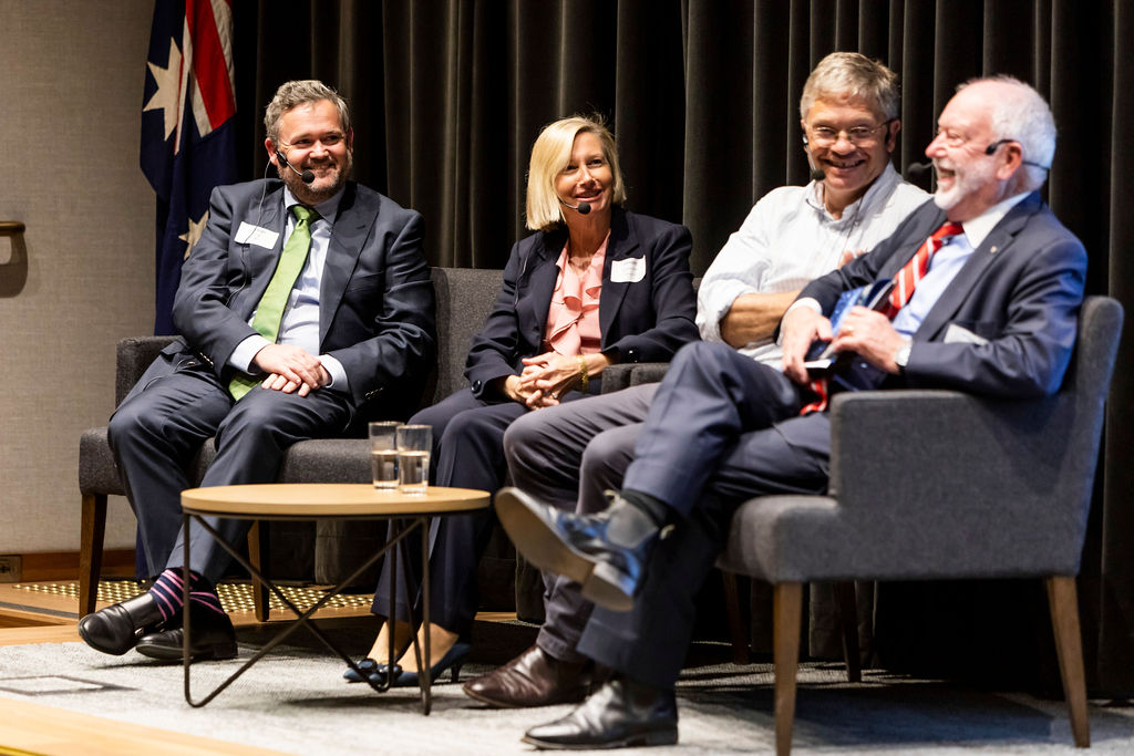 "Mr Paul Plowman, Ms Liz Dibbs, Professor Hugh Durrant-Whyte and Dr Paul Scully-Power. A panel discussion on ""How will smart sensing change the industry and society by 2030."""