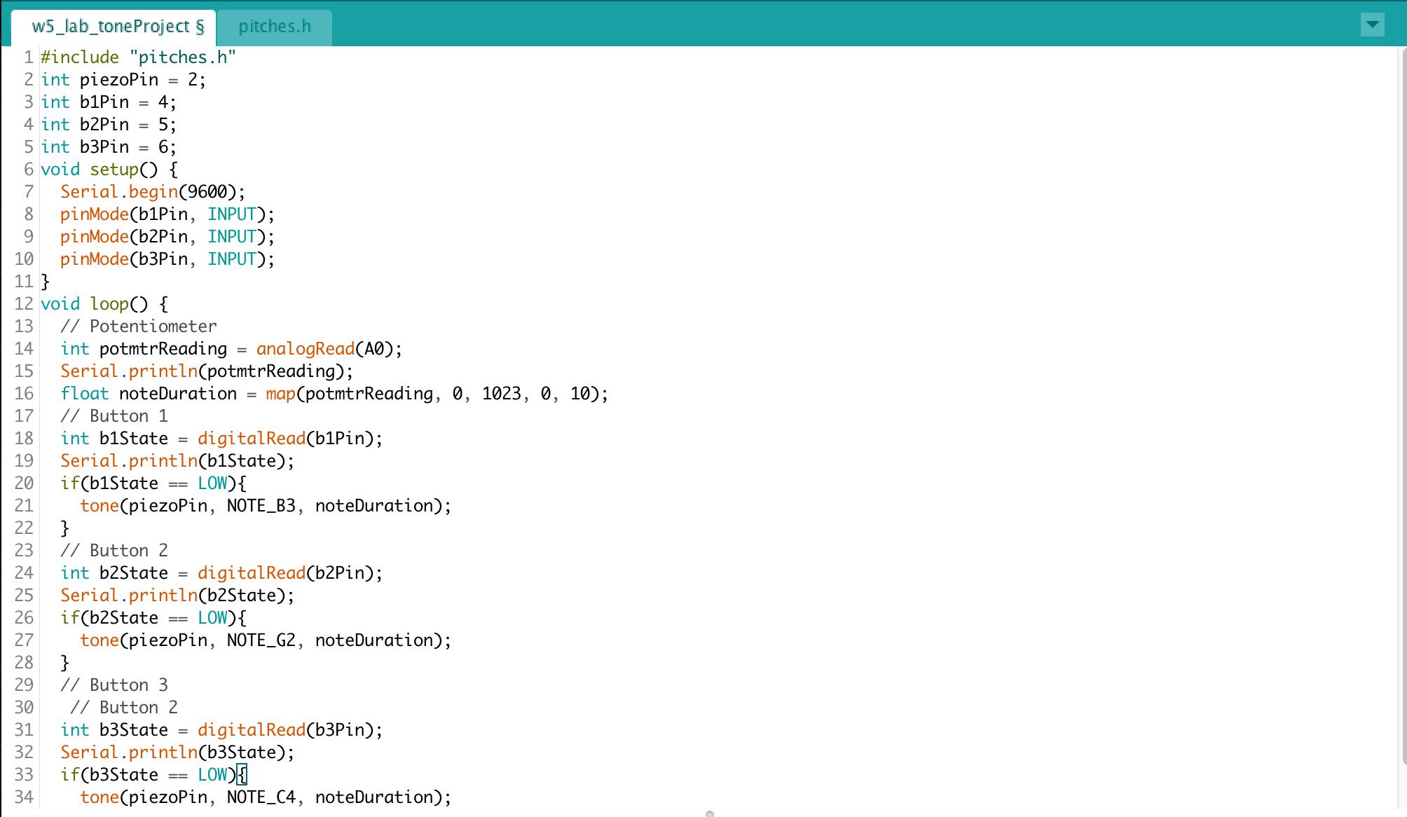 Figure 5 : Tone project code