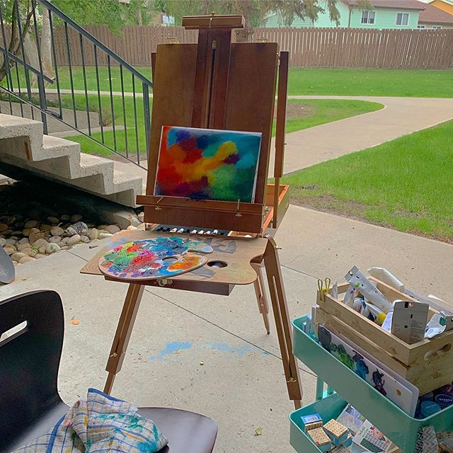🎨🖌 Sometimes you just need to pull out a canvas and easel, and throw some paint at it. See what sticks... #artist #canvaspainting #ontheeasel #outdoorpainting #bible #bibleart #biblestudy #biblejournaling #bibleartjournaling #biblejournal #biblejournalinglife #biblejournalingcommunity #bibledaily #journalingbible #illustratedfaith #illustratedfaithcommunity #communityofchristiancreatives #artjournal #faithart #documentedfaith  #readyourbible #artworship #ipaintinmybible #icolorinmybible #womenintheword #calledtobecreative