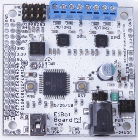 The EiBotBoard v2.0, the motor control board for the plotter