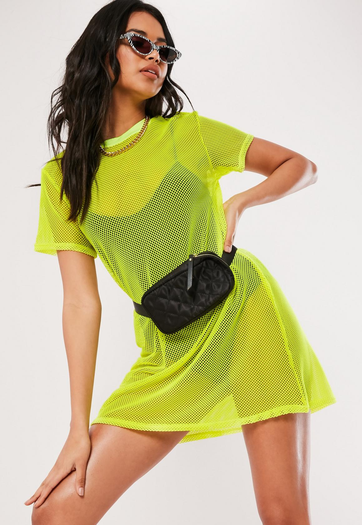 YELLOW OVERSIZED FISHNET T SHIRT DRESS