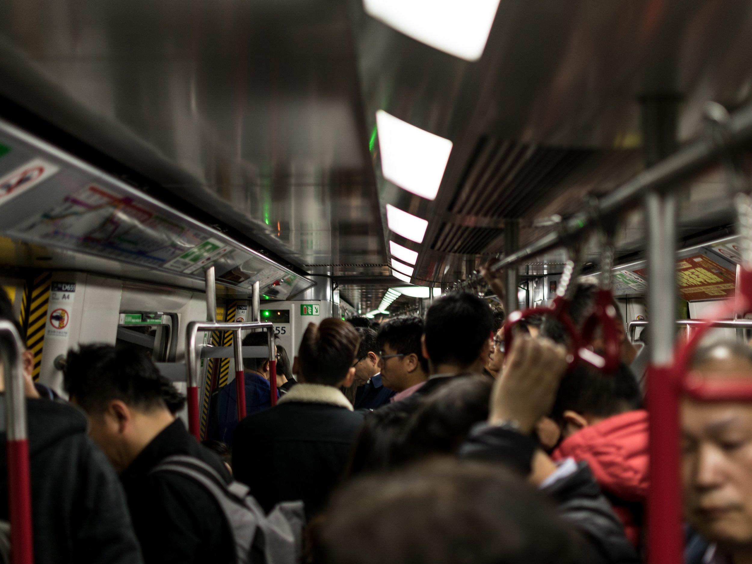 Riding the train in Hong Kong