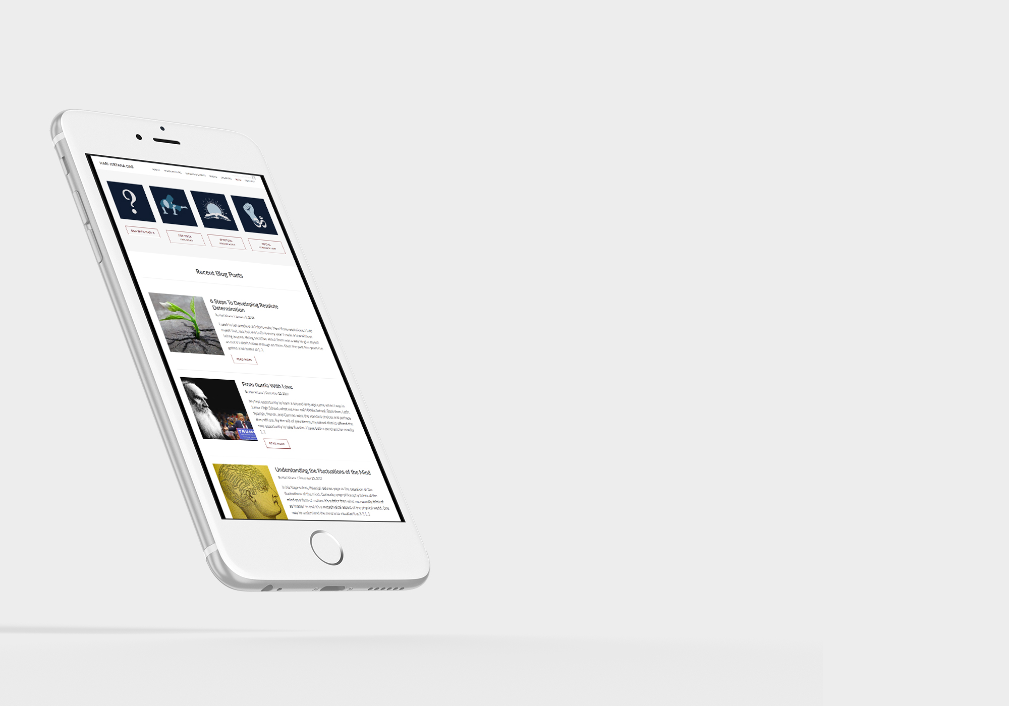 iphone mockup of Hari-kirtana das' website