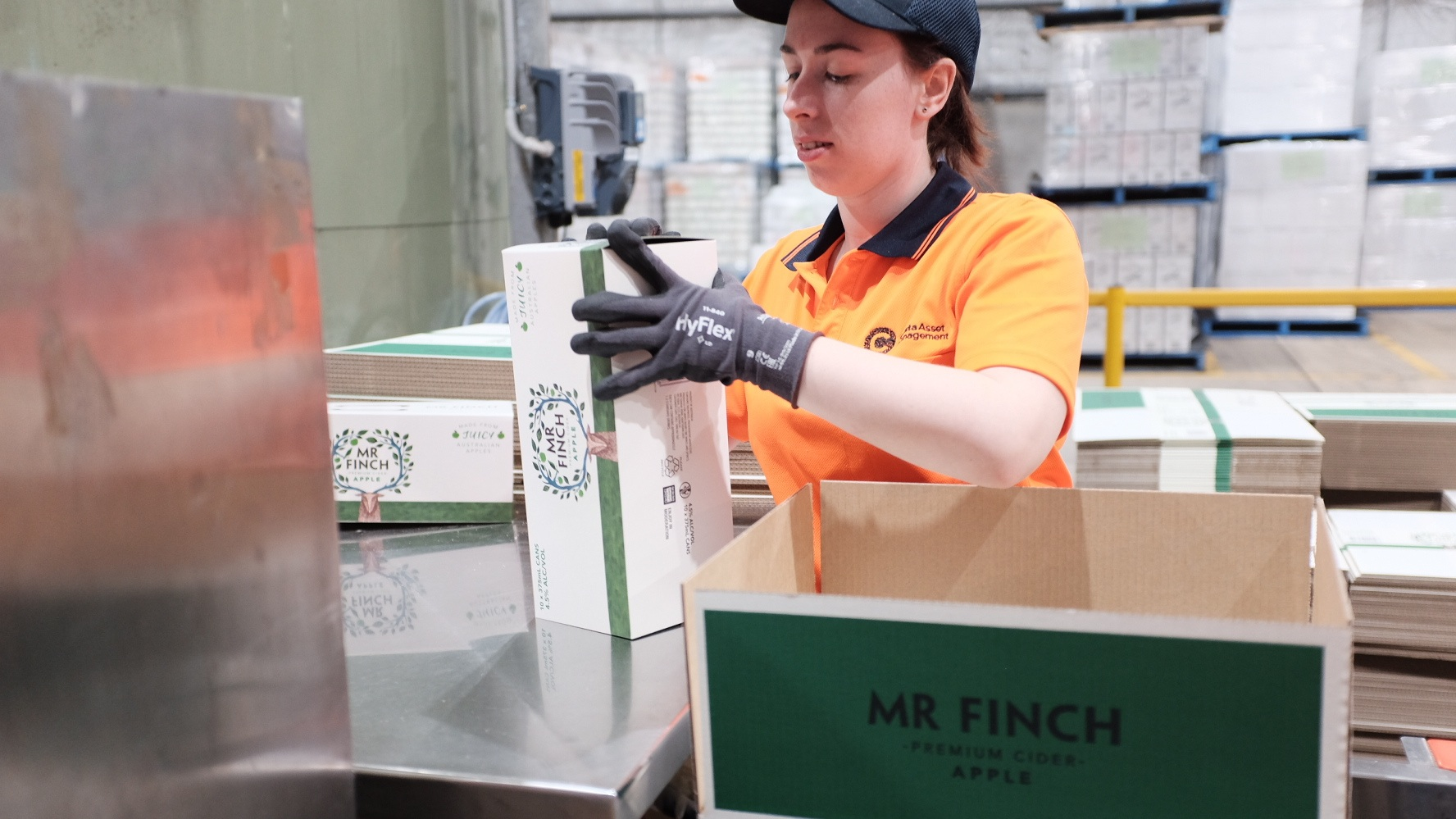 Our team packing  Mr Finch Cider.