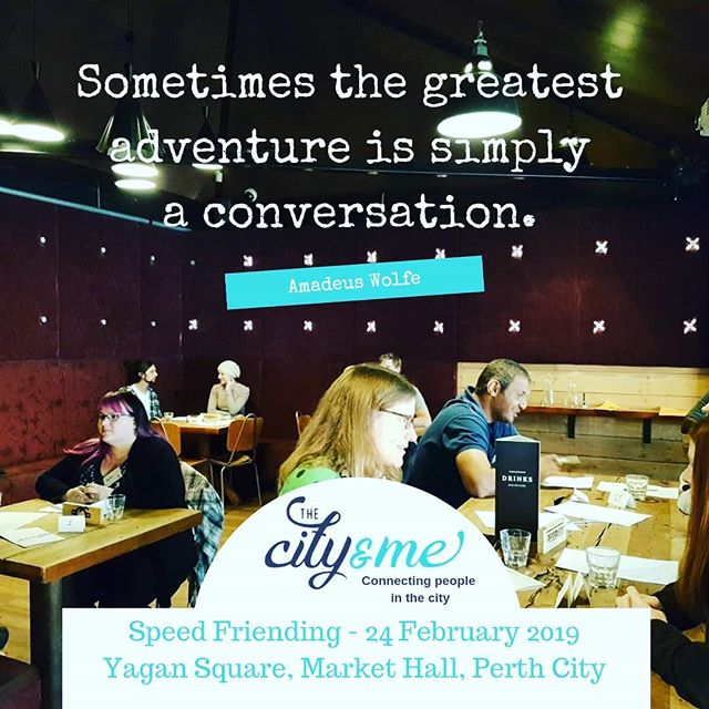 The City and Me is hosting Speed Friending at Yagan Square on 24 February 2019. Speed Friending is an awesome way to meet new people, grow your social life and experience more of Perth! . . We have mixed age groups for Speed Friending 20s & 30s or 20s,30s & 40s. . . See bio for link to tickets and more info. . . . . #perthfriends #Perthhappenings #perthlocal #meetnewpeople #speedfriending #speedfriendingperth #findyourtribe #friendship #friends #cityofperth #seeperth #experienceperth #perthsocial #meetfriends #makefriends #meetfriendsperth #meetpeopleperth #makefriendsperth #perthtodo #peopleofperth #meetup #newfriends #connectingpeopleinthecity #thingstodo #loveyourcity #connectingpeople #networking #perthlife #loveperth #perthvibes