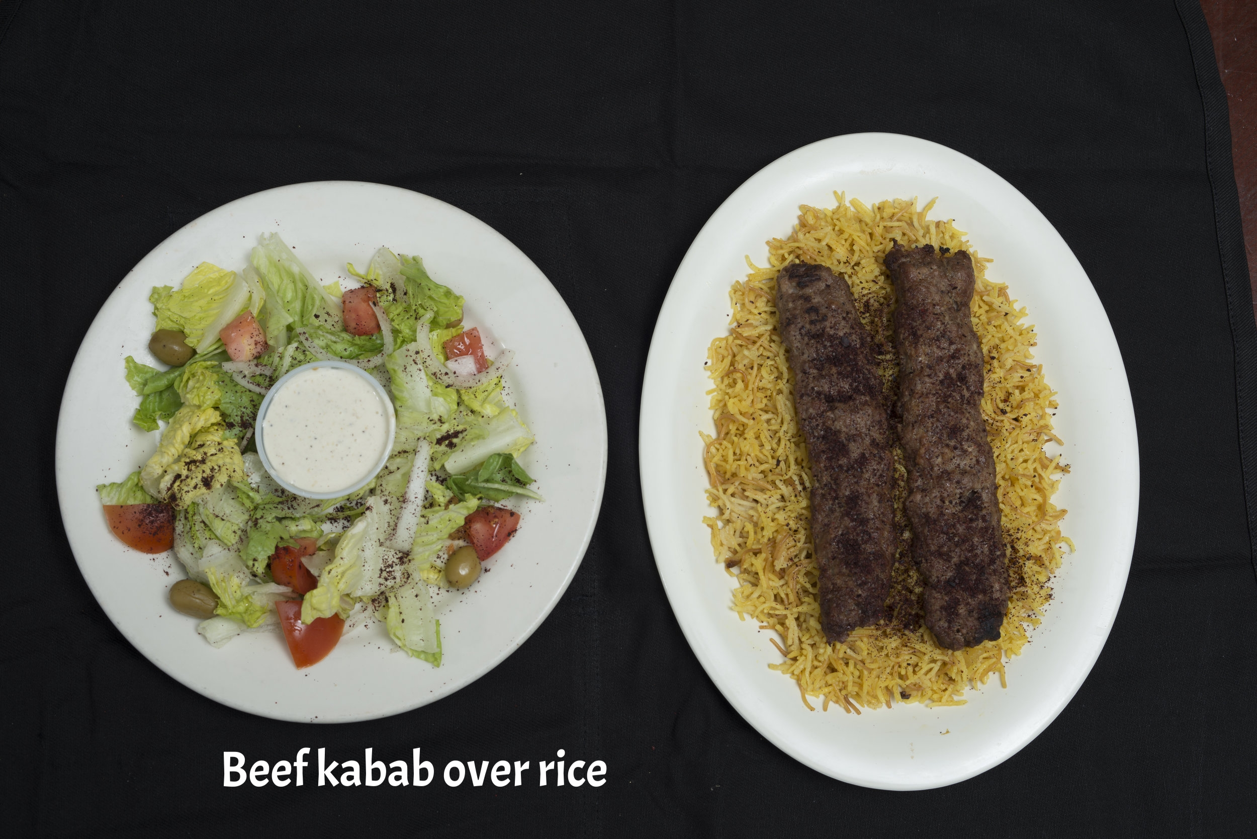 BEEF KABAB OVER RICE