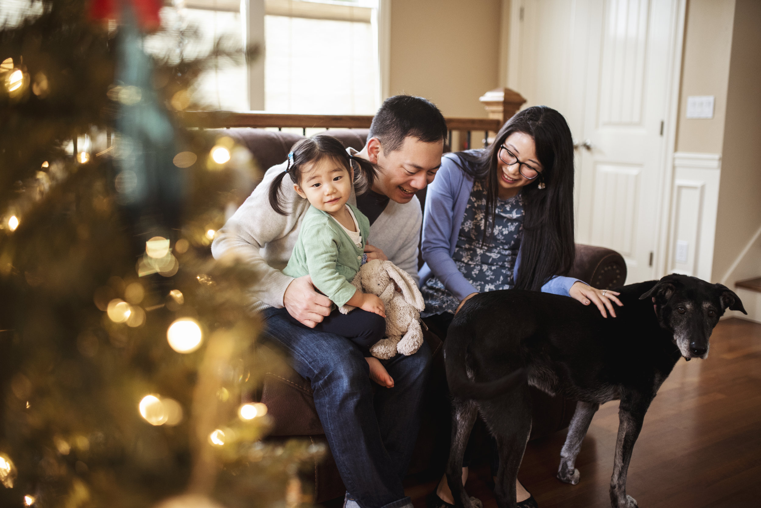 Seattle Family Photographer mom dad baby and dog by Christmas tree