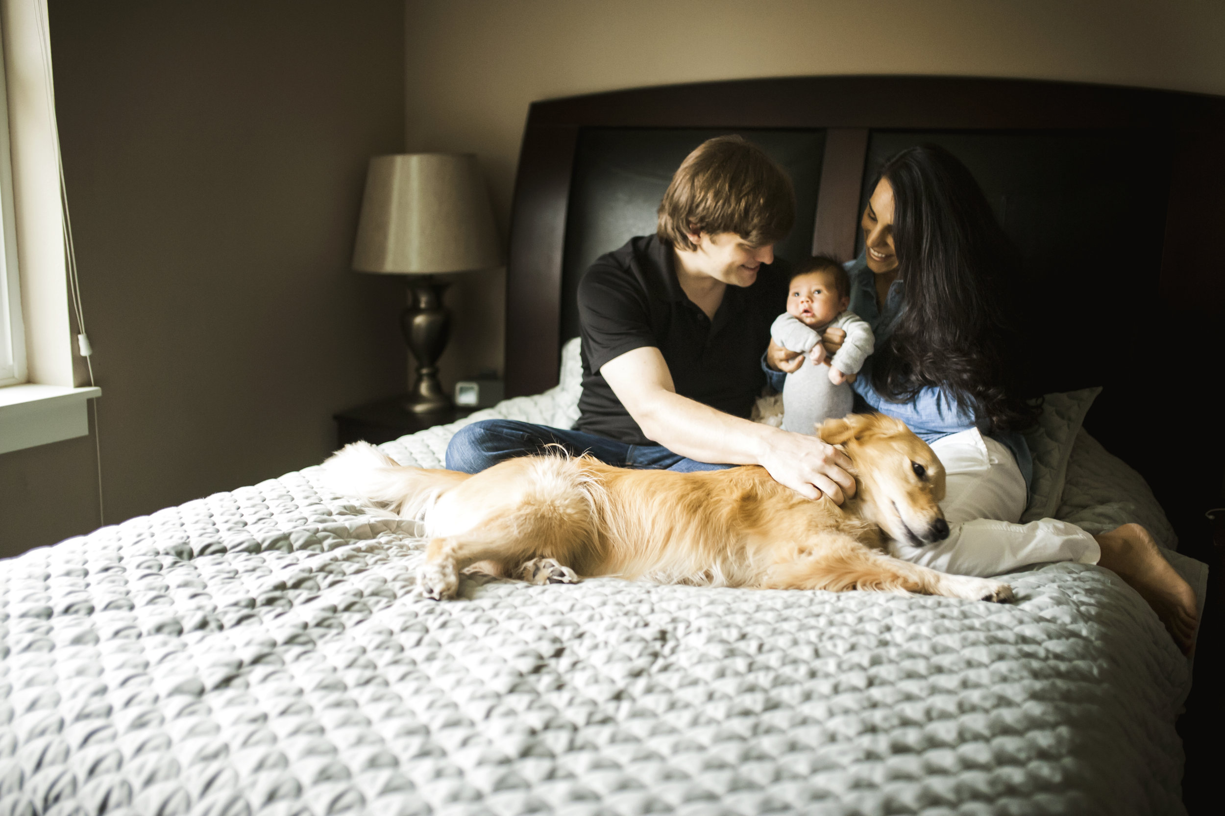 Everett family photographer baby mom dad and dog on bed