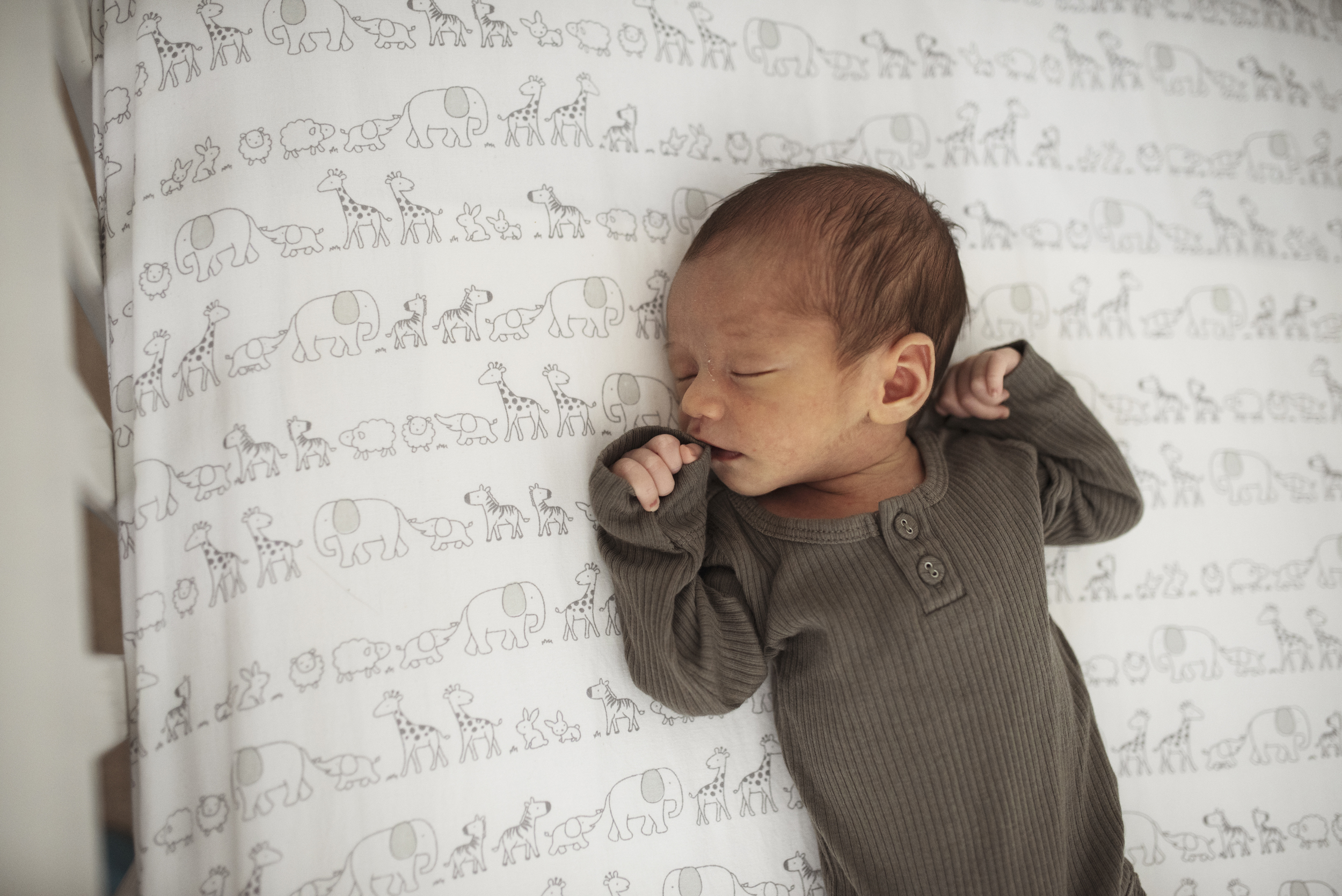 Seattle newborn photographer baby is asleep in crib