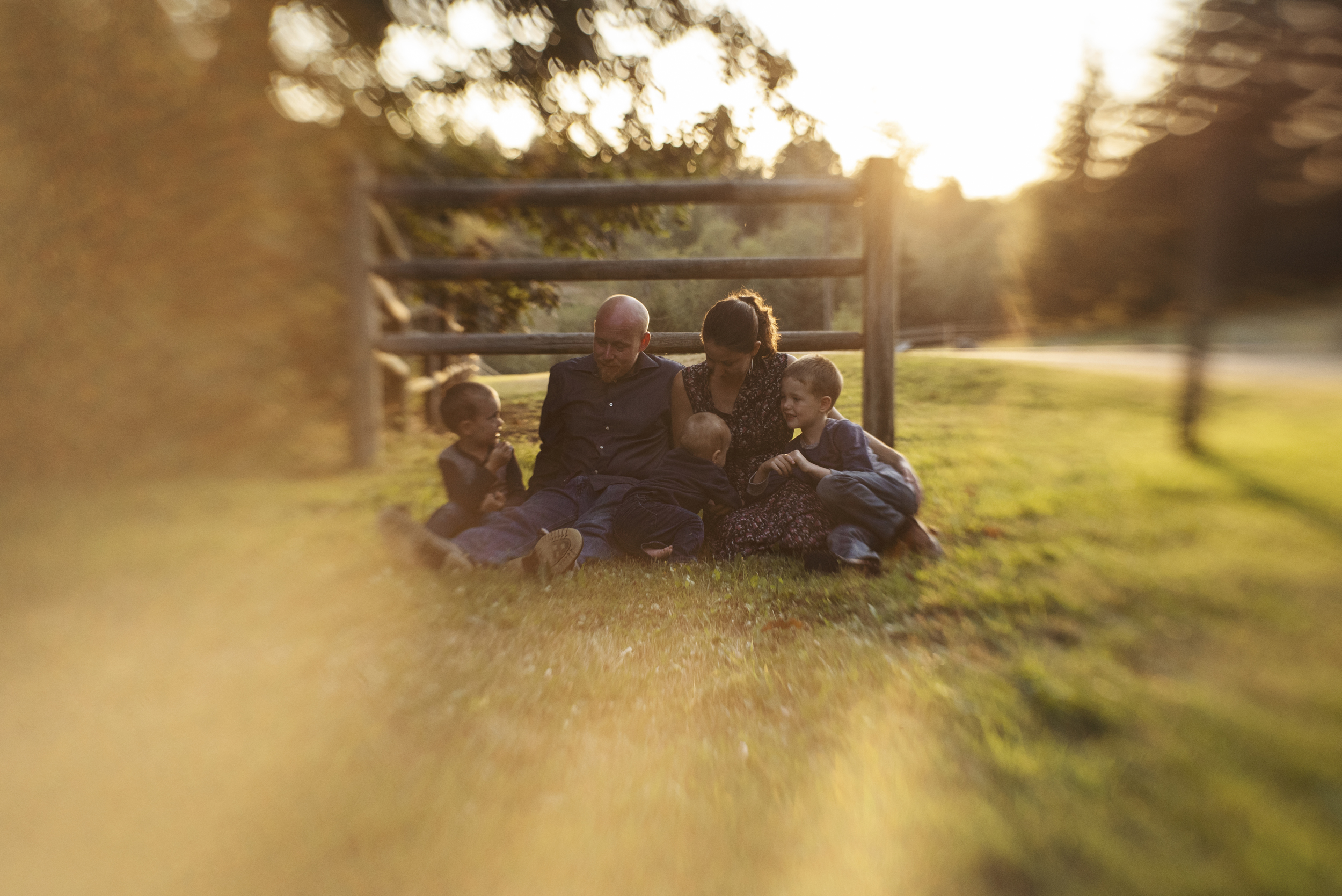 Seattle lifestyle photographer family sitting together in field