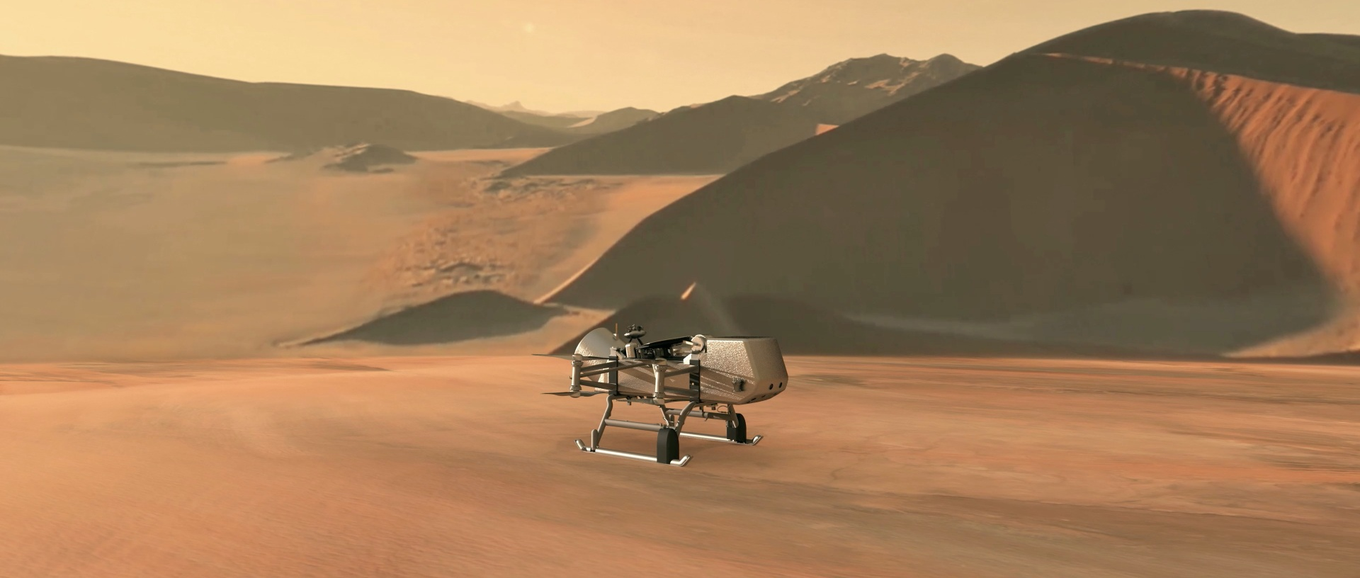NASA / JHU-APL Illustration of the DragonFly mission on Titan