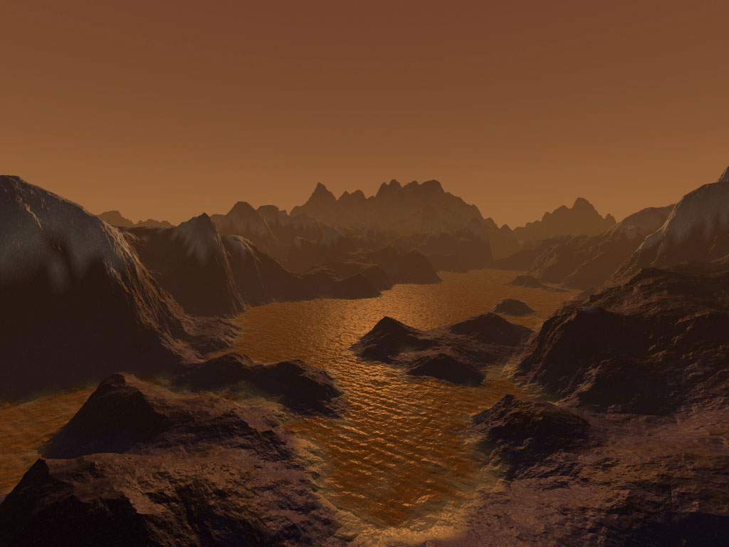 Synthetic image imagining Titan, consisting of hydrocarbon deposits and icy and rocky terrain. Credit: Steven Hobbs (Brisbane, Queensland, Australia).