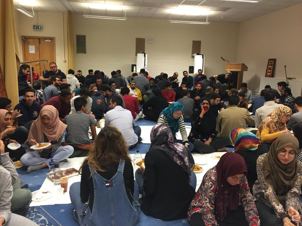 Iftaar in the Prayer Room where up to 100 students and local community members break their fast together with a free meal provided by the Society.