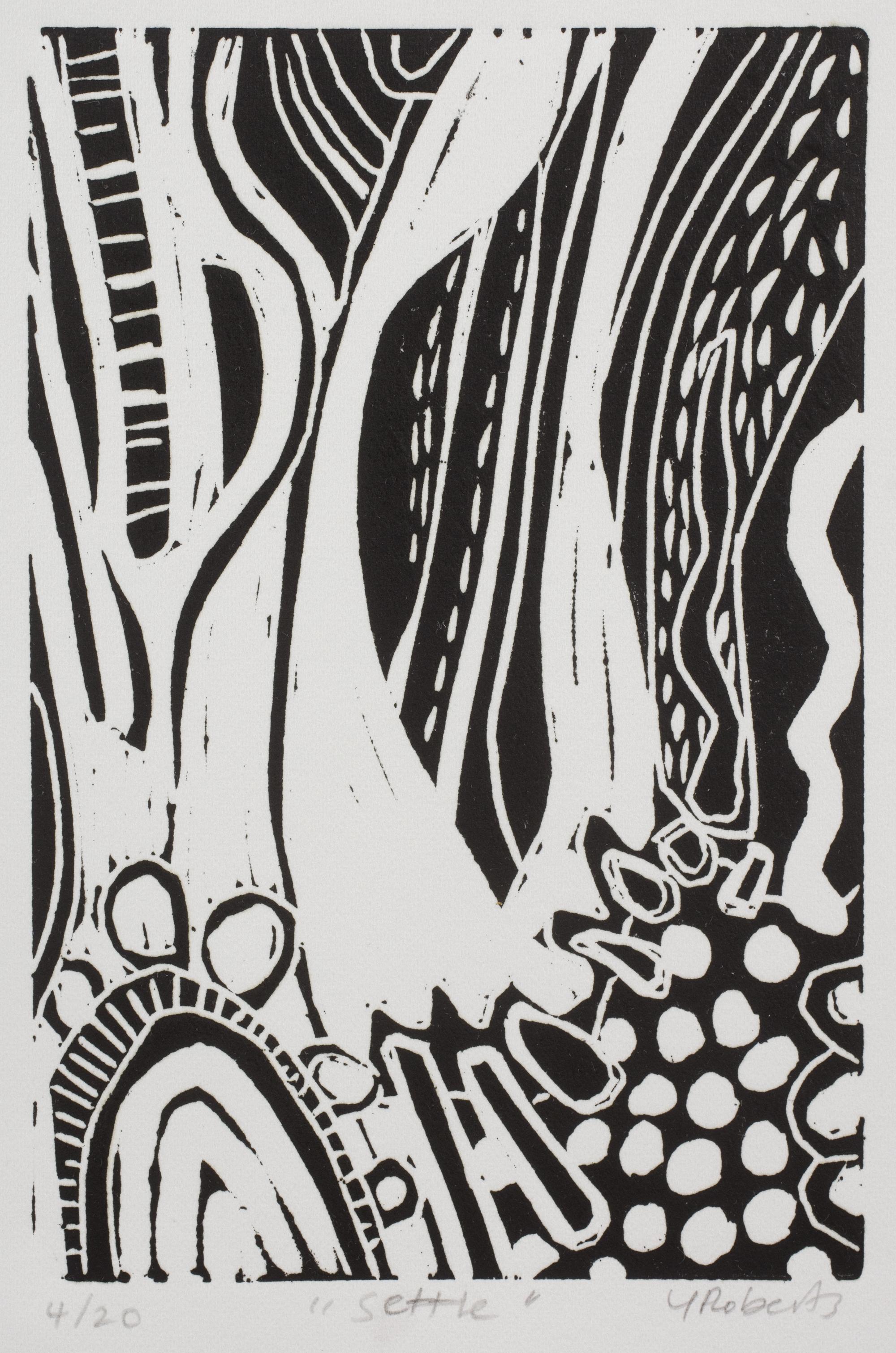 Settle , Linocut, edition 4/20
