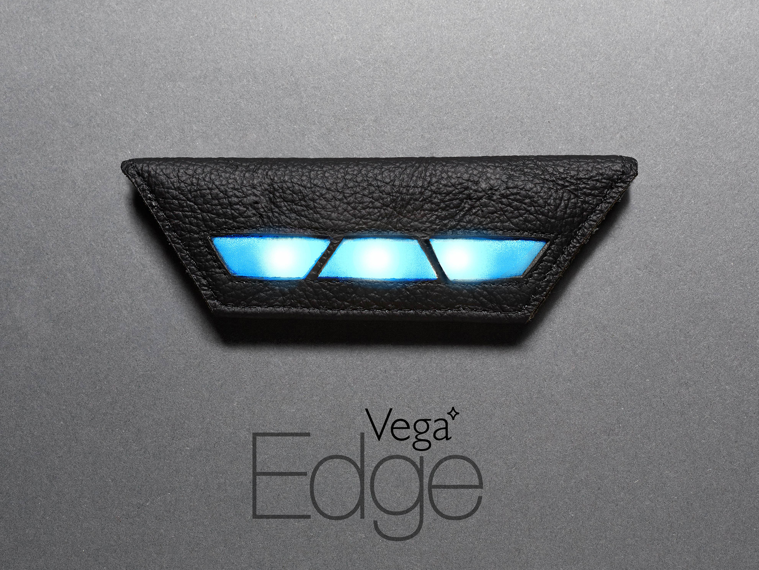 """The Edge is made from leather, with a vegan leather option. The choice of leather as a familiar material made the clip easier to match with other fabrics in one's wardrobe.  The LED circuitboard is removable and comes with 3 light patterns. For those who wished to personalise the light patterning, instructions were provided to """"hack"""" the Edge."""