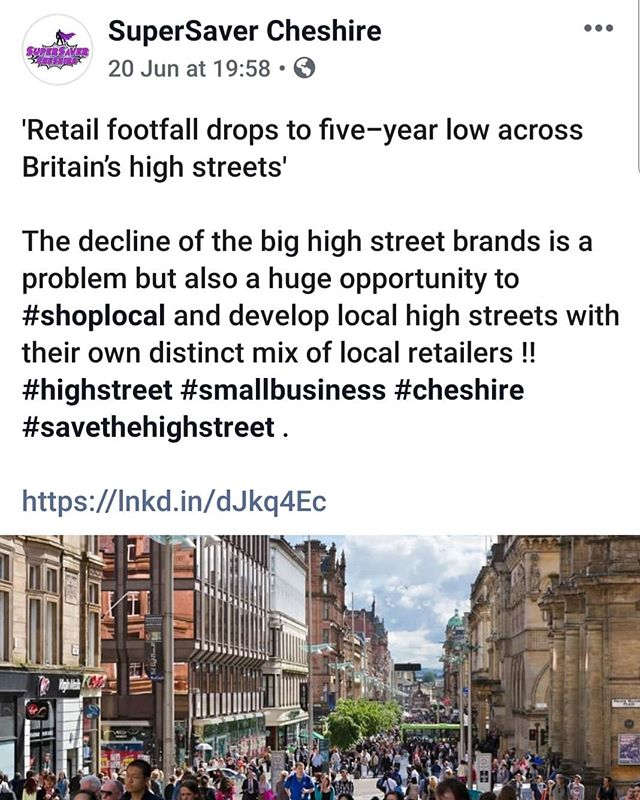 'Retail footfall drops to five-year low across Britain's high streets' @telegraph - The decline of the big high street brands is a problem but also a huge opportunity to #shoplocal and develop local high streets with their own distinct mix of local retailers !! - This is where my passion comes from!! Let's keep shopping locally. 😊 - My App is free and the link is in my bio! Download it and shop and save locally.xx - #northwich #sandbach #holmeschapel #knustford #congleton #frodsham #nantwich #tarporley #helsby #tarvin #macclesfield #cheshireblogger #shopcheshire #shoplocal # #highstreet #smallbusiness #cheshire #savethehighstreet