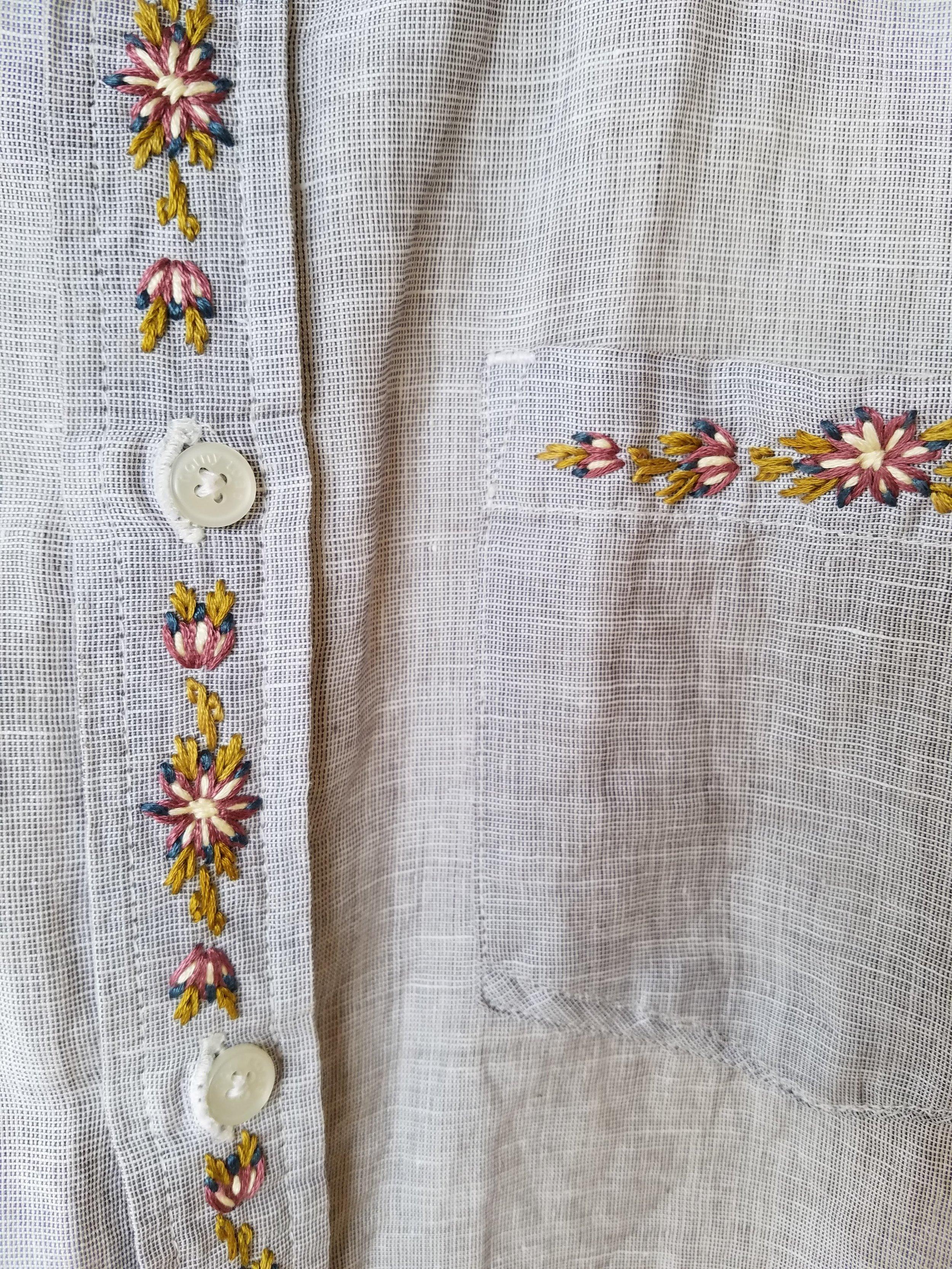 First men's linen shirt with embroidery by Dah John