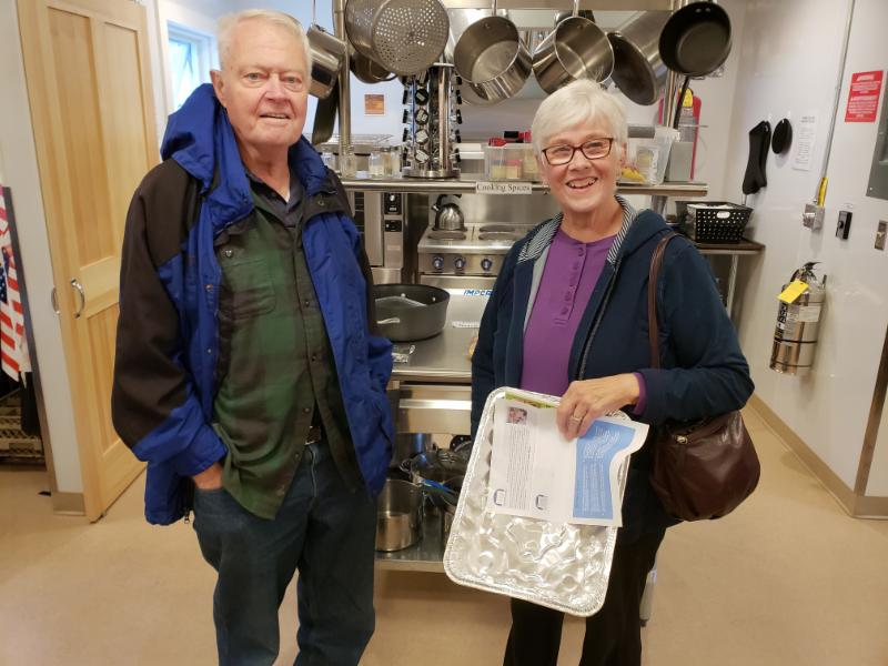Bill and Jean Fifield admire the new Charter House kitchen.