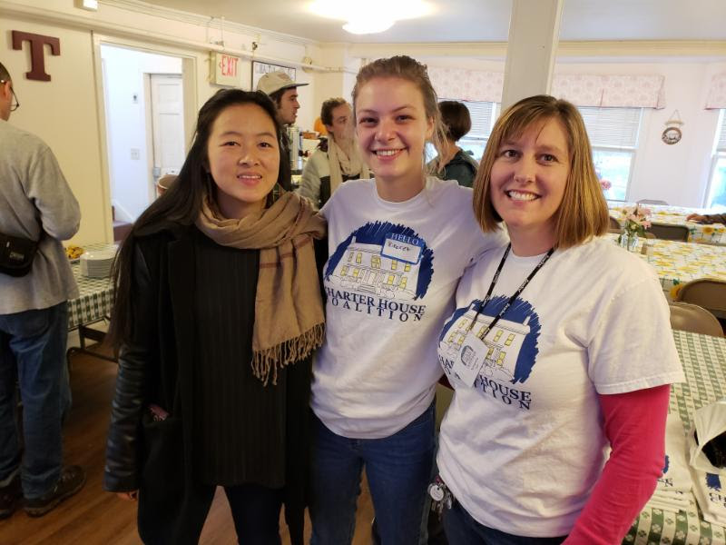 Middlebury College Volunteers Luna and Kineret, with C0-Director Samantha, Offer a Warm Welcome to Guests