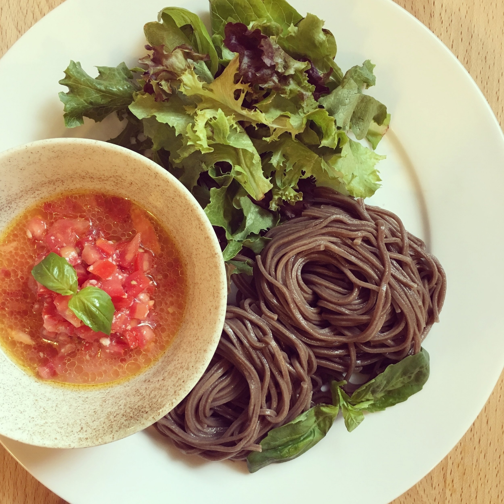 Soba Noodle Salad with Tomato Dipping Sauce  -