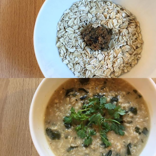 Miso dama + Rolled Oats + Hot Water = Homemade Miso Congee ready in 1 minute. . . . #miso #misodama #japanesefood #comfortfood #cleaneating #healthyfood #plantbased #chef #nutrition #nutritionist #dietitian #foodismedicine #food52 #homecooking #fermentedfoods #youarewhatyoueat #おじや #味噌玉 #vegetarian #umami #vegetarian #veganbreakfast #veganfood