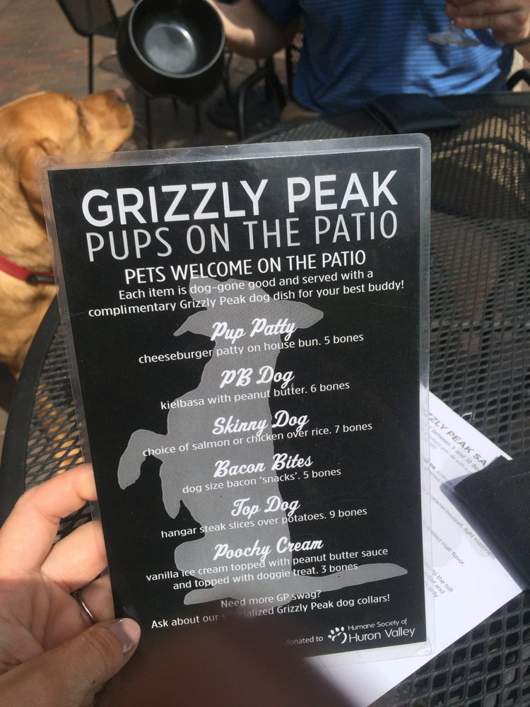 Grizzly Peak Brewing Company Dog Menu