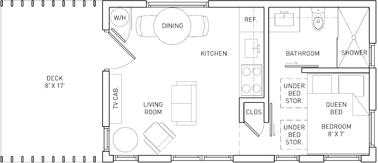 250 SF Model - With 80 SF Covered Porch and an additional 80 SF Storage Loft