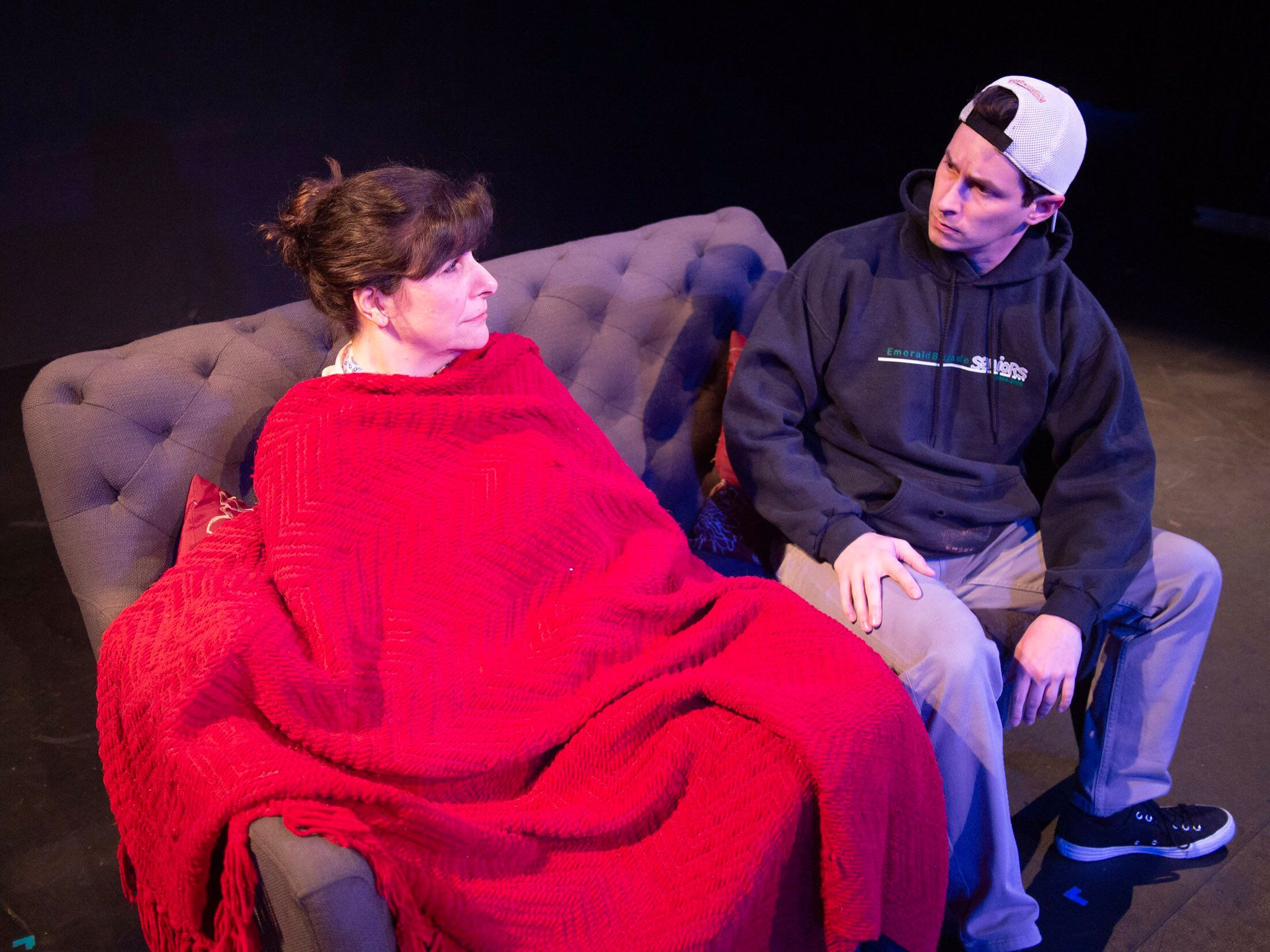 "Lisa Derthick and Matthew Hurley in ""Mendacity, or The Herd of Elephants in the Room,"" directed by Andrew Fridae."