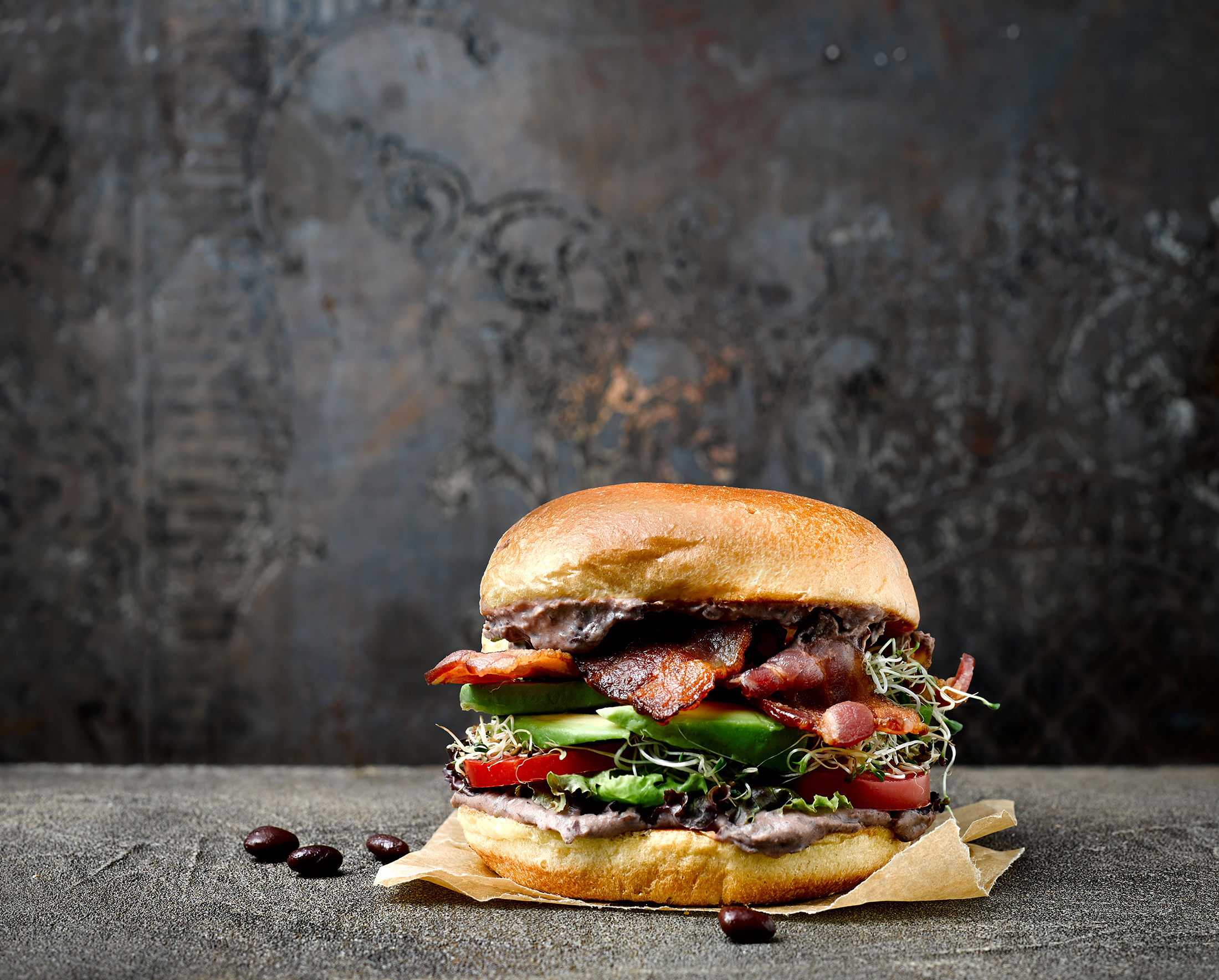Black Bean and Bacon Burger