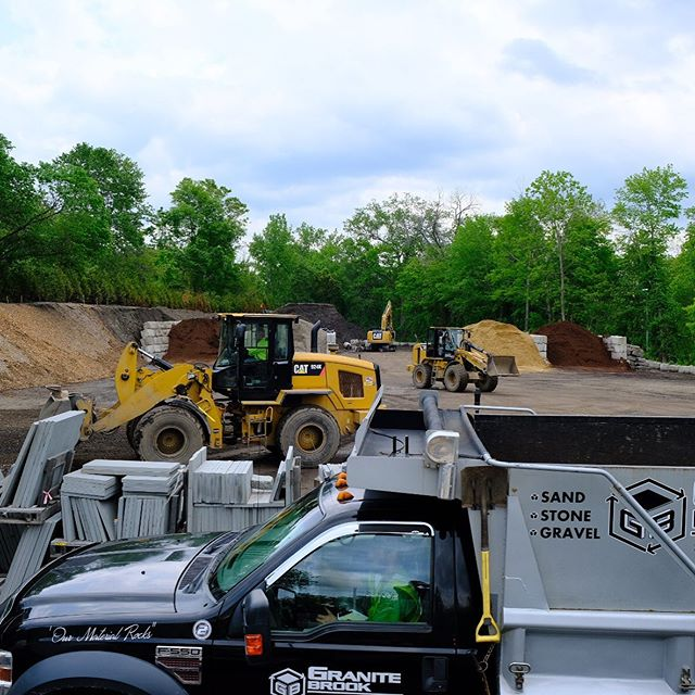 Busy Monday at Granite Brook.  OPEN MON 7am - 4:30pm TUE 7am - 4:30pm WED 7am - 4:30pm THU 7am - 4:30pm FRI 7am - 4:30pm SAT 7am - 4pm SUN Closed  www.GraniteBrookMaterials.com t: (781) 788-9700 🍃 PICKUP or DELIVERY 🍃  ÖUR MATERIAL RÖCKS! 🚛 Delivery today! 🚛 TRI-AXLE. STONE. MULCH. SAND. SUPERSOIL! • HOMEOWNERS AND CONTRACTORS 🚛 It's all here! MINUTES FROM 95/Rte128/MassPike! Delivery or Pickup! 781.788.9700  We offer prompt delivery YEAR ROUND service. 🌱 MULCH, STONE, SAND, SOIL, GRAVEL, LOAM, SUPERSOIL, TOOLS, BLOCK, PIPE, AND MORE LANDSCAPE SUPPLIES. 🌱 If you've never been to our yard, you will be blown away by what is here. IT'S ALL HERE! 🌱 • MULCHES INCLUDE DARK PINE, AGED HEMLOCK, BLACK MULCH, LEAF MULCH • SUPERSOIL • VARIOUS SIZES OF CRUSHED STONE • RECLAIMED GRANITE INVENTORY • WALL AND FIELD STONE • DECORATIVE STONES • COBBLESTONES • BAGGED CEMENT • BLOCK, BRICK, PIPE • AND MUCH MORE _ _ _ _ _ #onlyinmassachusetts #boston #landscape #sand #stone #loam #mulch #gravel #landscapematerials #landscapeearthartisans #reclaimedgranite #granite #rock #customstonework #earthmovers #builder #madeinmass #bostonbark #bostonmulch #granite #bostondotcom #madeinmassachusetts #hardwork #crushing #screening #stonewall #patio #bostonma #yardwork #construction #bluestone