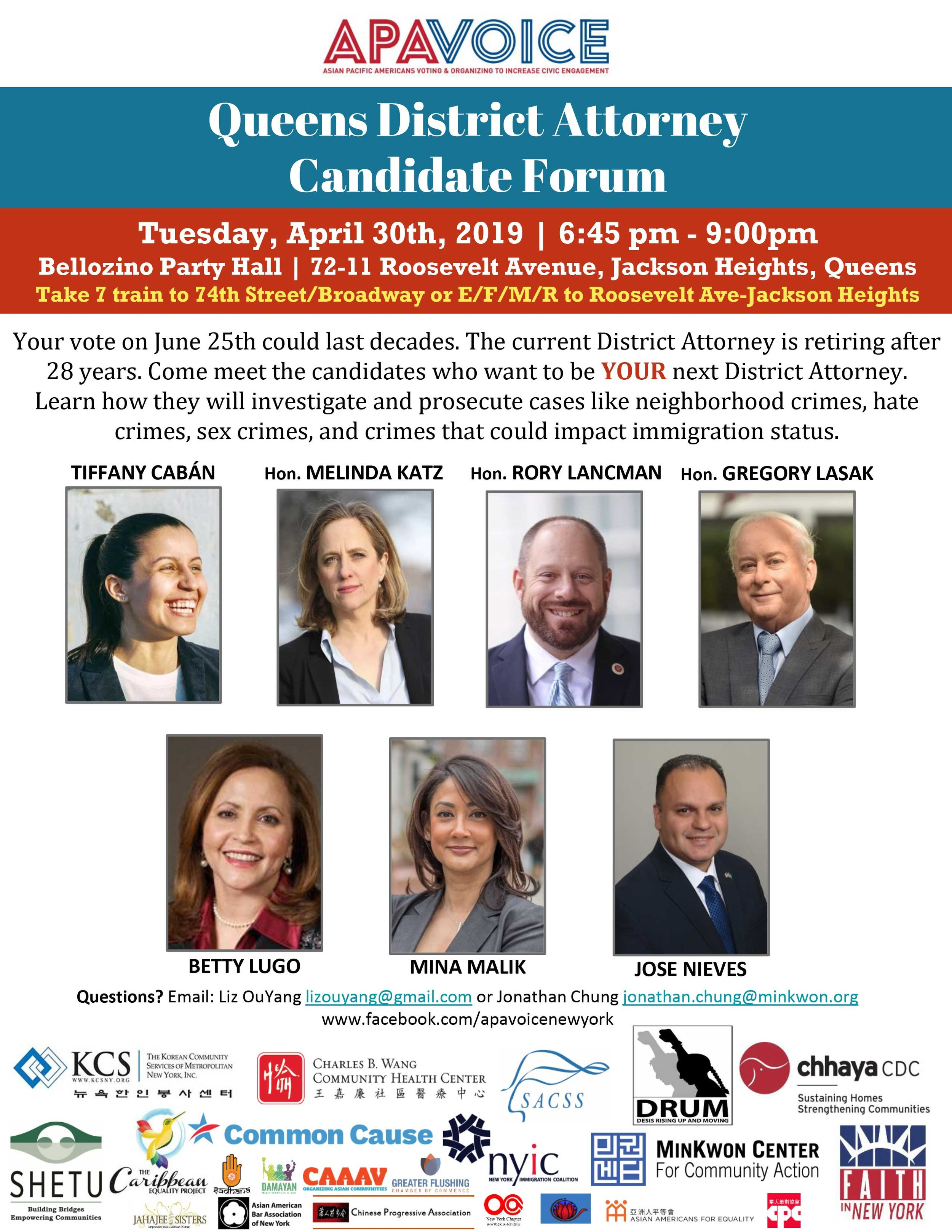 Queens District Attorney Candidate Forum
