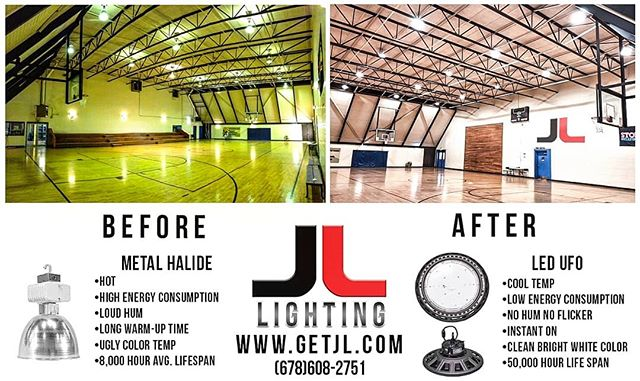 A little before and after of our LED UFO High Bays lighting up a gym for another satisfied customer! It just makes sense. Get yours today! #getjl #jllighting #gym #schools #commercialled #ledhighbay #ledlights #ledlighting #led #metalhalide #commercial #construction #retrofit #publicschools #privateschool #government