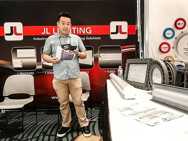 Jacob setting up our JL Lighting booth (booth #12) at #nalmco18 at the 65th Nalmco Annual Convention & Tradeshow! #getjlnow #getjl #jllighting #nalmco #led #ledlighting #commercialled #lighting