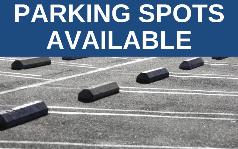 We have 8 parking spots available for rent in the upper parking lot off of 5th street. The spots cost $45 per month. Contact the church office for more info!