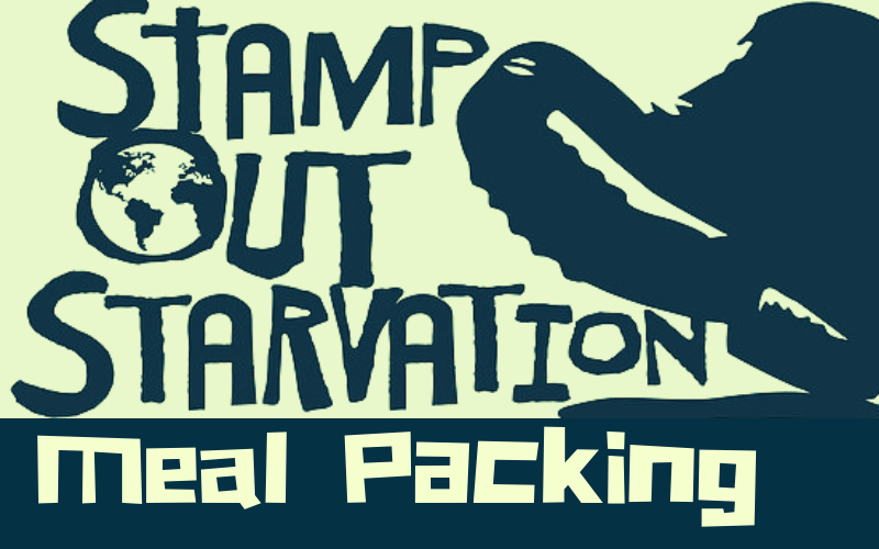 Sunday, July 28, 8:30 a.m. - 10:30 am:    Stamp Out Starvation    Meal Packing Event    Plan to come early on Sunday July 28 from 8:30-10:30 a.m. for our meal packing event for  Stamp Out Starvation . We need at least 50 volunteers to meet our meal packing goal!  All ages are encouraged to participate!