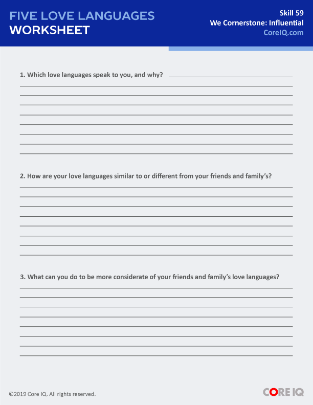 THE FIVE LOVE LANGUAGES WORKSHEET