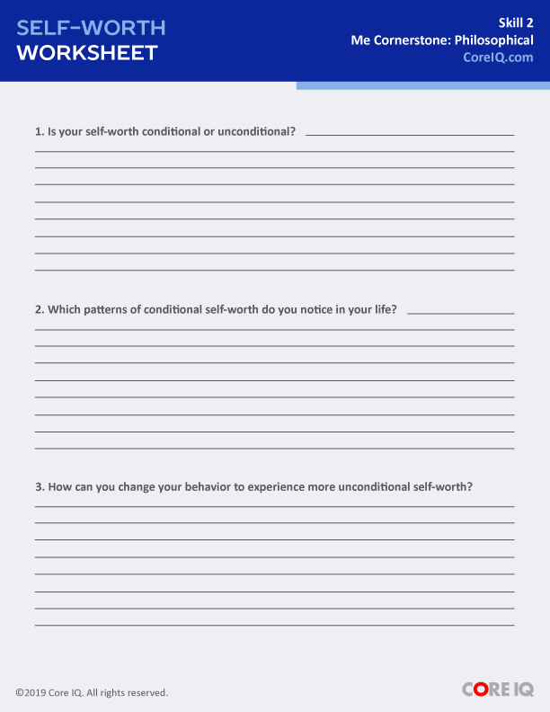 SELF-WORTH WORKSHEET
