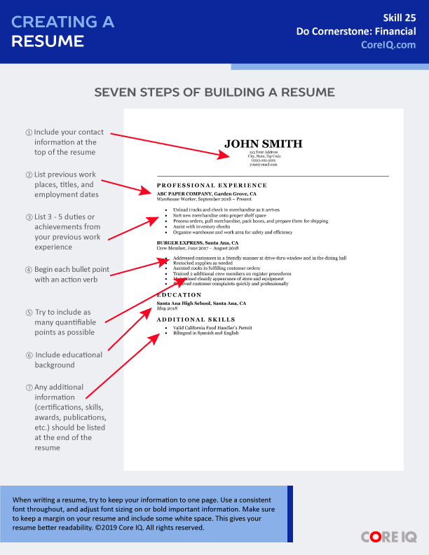 Skill 25: Creating a Resume